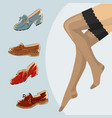 stockings and female legs with retro vintage shoes vector image
