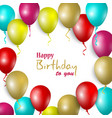 birthday card with colorful balloons in vector image vector image