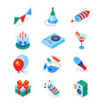 birthday party - modern colorful isometric icons vector image