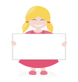 Blond girl holding white empty banner vector image