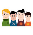 boys friends profile cartoon vector image vector image