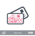 Card with palm outline icon summer vacation