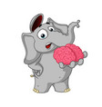 cartoon brain in hand gives your mind vector image vector image