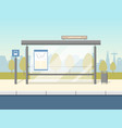 cartoon bus stop card poster vector image vector image