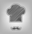 chef hat and moustache sign pencil sketch vector image vector image
