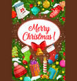 christmas tree xmas bell gifts and gingerbread vector image vector image