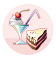 cocktail and a piece chocolate cake vector image