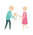 color silhouette pictogram man carrying a baby and vector image vector image