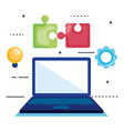 computer laptop with seo icons vector image