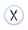 crossed fork and knife icon isolated on white vector image vector image