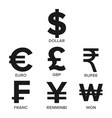 currency icon set money famous world vector image vector image