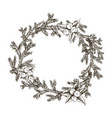 decorative wreath made of branches and cones of vector image vector image