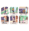 ecology transport scenes different ages people vector image vector image