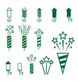 firework pyrotechnic icon set vector image