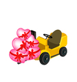 forklift truck loading a stack hearts vector image vector image