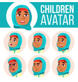 girl avatar set kid primary school face vector image