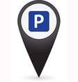 GPS marker with parking sign vector image vector image