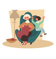 granddaughter and grandmother knitting in armchair vector image