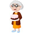 grandmother with birthday cake vector image