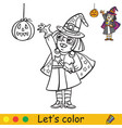 halloween coloring with colored example little vector image