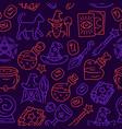 halloween items seamless pattern mystery vector image