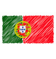 hand drawn national flag of portugal isolated on a vector image vector image