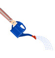 hand with blue plastic watering can vector image vector image