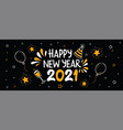 happy new year 2021 fun gold party doodle banner vector image