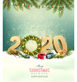 holiday background with a 2020 and christmas vector image vector image