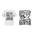 hunter club t-shirt print grizzly bear animal vector image