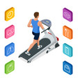 isometric young man in sportswear running on vector image vector image