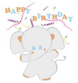 kids birthday card with elephant vector image vector image