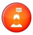 Man needs help icon flat style vector image vector image