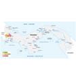 map coffee growing areas panama vector image