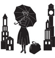 mary poppins in the sky with an umbrella vector image vector image