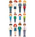 Men and women standing vector image vector image