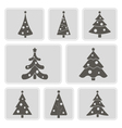 monochrome icons with Christmas trees vector image