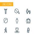 people outline icons set collection of male head vector image vector image