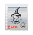 pumpkin doddle character on paper vector image vector image