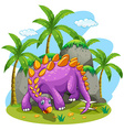 Purple dinosaur standing on the ground vector image vector image