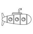 retro submarine icon outline style vector image
