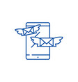 sending messages line icon concept sending vector image