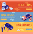 set banners for car assistance and tire fitting vector image