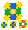 set puzzles different colors middle vector image vector image