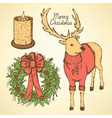 Sketch fancy reindeer with candle and wreath vector image vector image