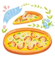 Slice of pizza isolated on white background vector image