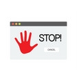 stop sign on computer screen symbol isolated on vector image