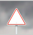 triangle road sign on gray sky background vector image vector image