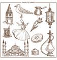 turkey travel symbols and sketch landmarks vector image vector image