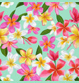 watercolor tropical flowers seamless pattern vector image